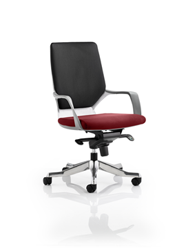 Picture of Office Chair Company Xenon White Medium Back Bespoke Colour Seat Chilli