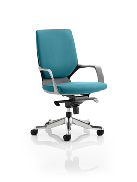 Picture of Office Chair Company Xenon Black Medium Back Bespoke Colour Kingfisher