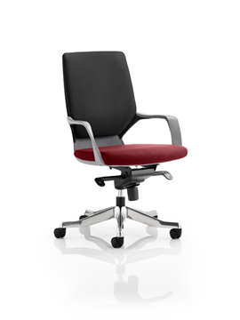 Picture of Office Chair Company Xenon Black Medium Back Bespoke Colour Seat Chilli