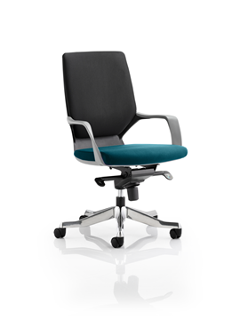 Picture of Office Chair Company Xenon Black Medium Back Bespoke Colour Seat Kingfisher