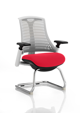 Picture of Office Chair Company Flex Task Operator Chair White Frame White Back Cantilever Bespoke Colour Seat Cherry