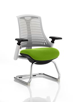Picture of Office Chair Company Flex Task Operator Chair White Frame White Back Cantilever Bespoke Colour Seat Swizzle