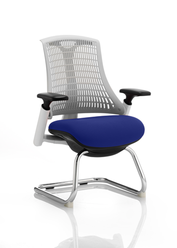 Picture of Office Chair Company Flex Task Operator Chair White Frame White Back Cantilever Bespoke Colour Seat Serene