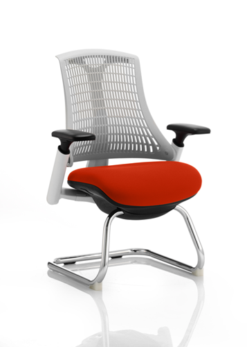 Picture of Office Chair Company Flex Task Operator Chair White Frame White Back Cantilever Bespoke Colour Seat Pimento