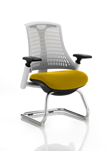 Picture of Office Chair Company Flex Task Operator Chair White Frame White Back Cantilever Bespoke Colour Seat Sunset
