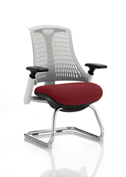 Picture of Office Chair Company Flex Task Operator Chair White Frame White Back Cantilever Bespoke Colour Seat Chilli