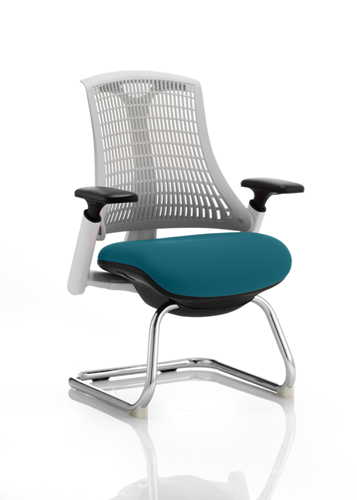 Picture of Office Chair Company Flex Task Operator Chair White Frame White Back Cantilever Bespoke Colour Seat Kingfisher