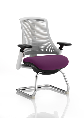 Picture of Office Chair Company Flex Task Operator Chair White Frame White Back Cantilever Bespoke Colour Seat Purple