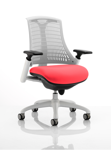 Picture of Office Chair Company Flex Task Operator Chair White Frame White Back Bespoke Colour Seat Cherry
