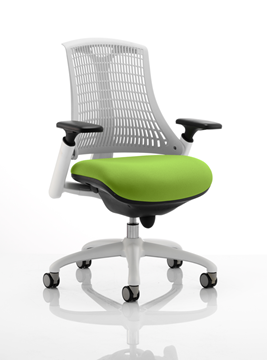 Picture of Office Chair Company Flex Task Operator Chair White Frame White Back Bespoke Colour Seat Swizzle