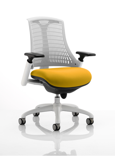 Picture of Office Chair Company Flex Task Operator Chair White Frame White Back Bespoke Colour Seat Sunset