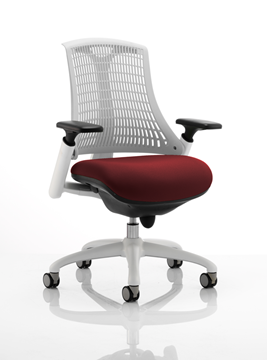 Picture of Office Chair Company Flex Task Operator Chair White Frame White Back Bespoke Colour Seat Chilli