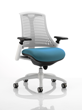 Picture of Office Chair Company Flex Task Operator Chair White Frame White Back Bespoke Colour Seat Kingfisher