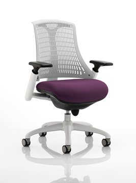 Picture of Office Chair Company Flex Task Operator Chair White Frame White Back Bespoke Colour Seat Purple