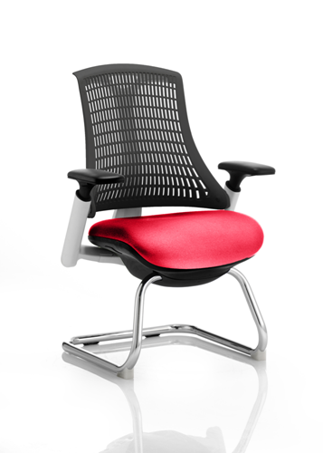 Picture of Office Chair Company Flex Task Operator Chair White Frame Black Back Cantilever Bespoke Colour Seat Cherry