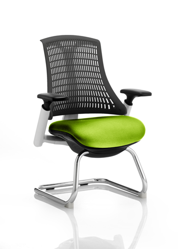 Picture of Office Chair Company Flex Task Operator Chair White Frame Black Back Cantilever Bespoke Colour Seat Swizzle