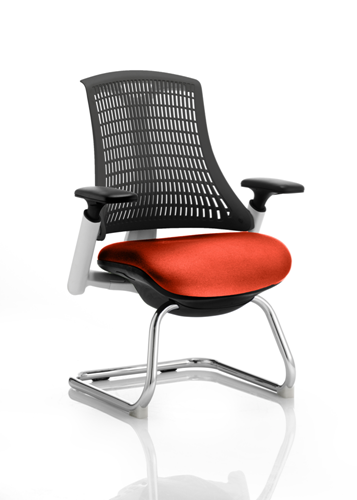 Picture of Office Chair Company Flex Task Operator Chair White Frame Black Back Cantilever Bespoke Colour Seat Pimento