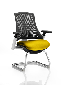 Picture of Office Chair Company Flex Task Operator Chair White Frame Black Back Cantilever Bespoke Colour Seat Sunset