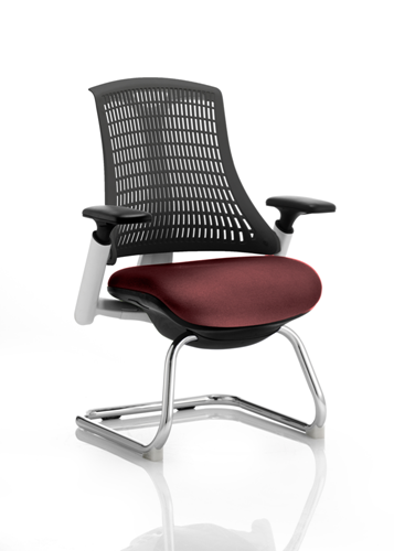 Picture of Office Chair Company Flex Task Operator Chair White Frame  Black Back Cantilever Bespoke Colour Seat Chilli