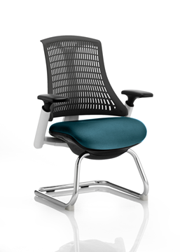 Picture of Office Chair Company Flex Task Operator Chair White Frame  Black Back Cantilever Bespoke Colour Seat Kingfisher
