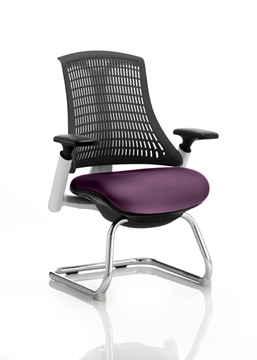 Picture of Office Chair Company Flex Task Operator Chair White Frame Black Back Cantilever Bespoke Colour Seat Purple