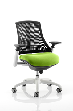 Picture of Office Chair Company Flex Task Operator Chair White Frame Black Back Bespoke Colour Seat Swizzle