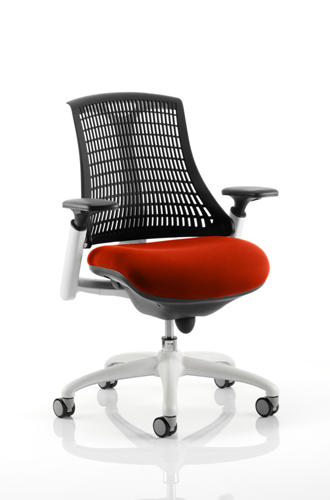 Picture of Office Chair Company Flex Task Operator Chair White Frame Black Back Bespoke Colour Seat Pimento