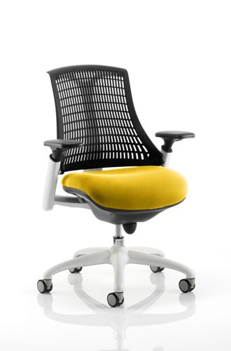 Picture of Office Chair Company Flex Task Operator Chair White Frame Black Back Bespoke Colour Seat Sunset
