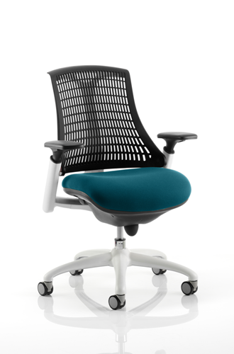 Picture of Office Chair Company Flex Task Operator Chair White Frame Black Back Bespoke Colour Seat Kingfisher