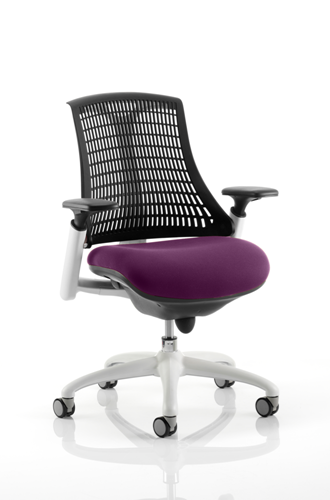 Picture of Office Chair Company Flex Task Operator Chair White Frame Black Back Bespoke Colour Seat Purple