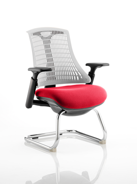 Picture of Office Chair Company Flex Task Operator Chair Black Frame White Back  Cantilever Bespoke Colour Seat Cherry