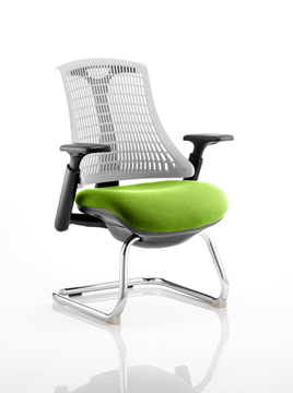 Picture of Office Chair Company Flex Task Operator Chair Black Frame White Back Cantilever Bespoke Colour Seat Swizzle