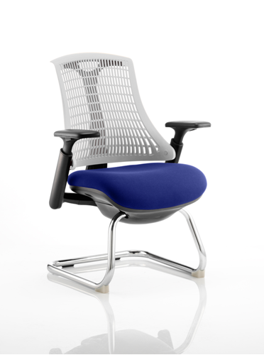 Picture of Office Chair Company Flex Task Operator Chair Black Frame White Back Cantilever Bespoke Colour Seat Serene