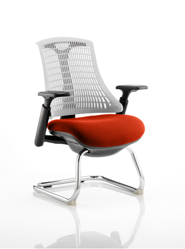 Picture of Office Chair Company Flex Task Operator Chair Black Frame White Back Cantilever Bespoke Colour Seat Pimento