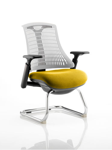 Picture of Office Chair Company Flex Task Operator Chair Black Frame White Back Cantilever Bespoke Colour Seat Sunset
