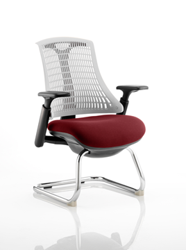 Picture of Office Chair Company Flex Task Operator Chair Black Frame White Back Cantilever Bespoke Colour Seat Chilli