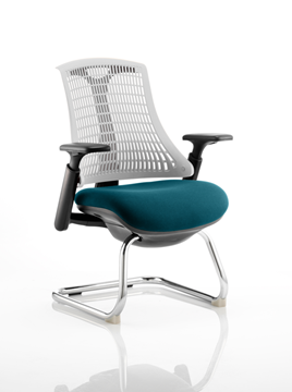 Picture of Office Chair Company Flex Task Operator Chair Black Frame White Back Cantilever Bespoke Colour Seat Kingfisher