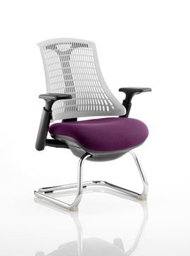 Picture of Office Chair Company Flex Task Operator Chair Black Frame White Back Cantilever Bespoke Colour Seat Purple