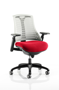 Picture of Office Chair Company Flex Task Operator Chair Black Frame White Back Bespoke Colour Seat Cherry
