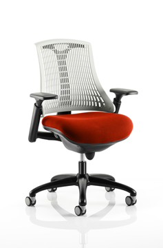 Picture of Office Chair Company Flex Task Operator Chair Black Frame White Back Bespoke Colour Seat Pimento