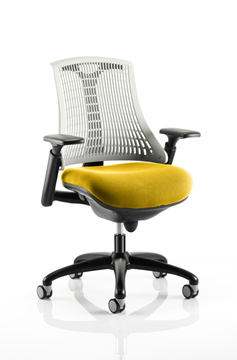 Picture of Office Chair Company Flex Task Operator Chair Black Frame White Back Bespoke Colour Seat Sunset