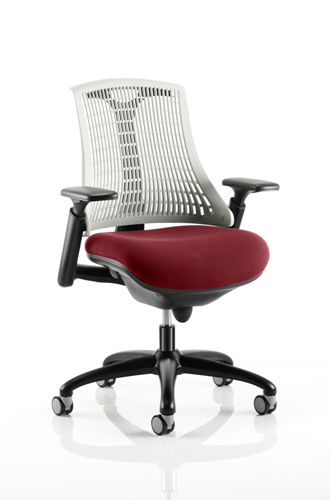 Picture of Office Chair Company Flex Task Operator Chair Black Frame White Back Bespoke Colour Seat Chilli