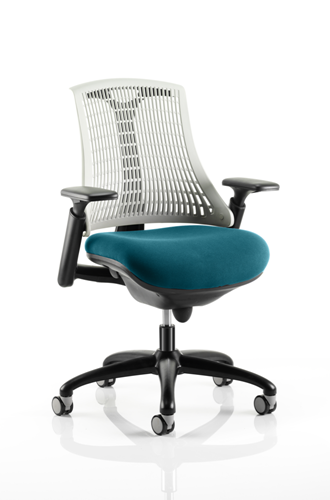 Picture of Office Chair Company Flex Task Operator Chair Black Frame White Back Bespoke Colour Seat Kingfisher
