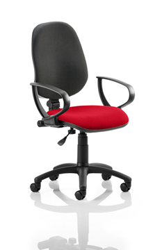 Picture of Office Chair Company Eclipse I Lever Task Operator Chair Black Back Bespoke Seat With Loop Arms In Cherry