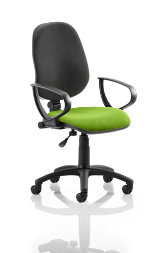 Picture of Office Chair Company Eclipse I Lever Task Operator Chair Black Back Bespoke Seat With Loop Arms In Swizzle