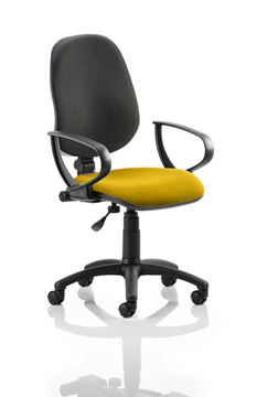 Picture of Office Chair Company Eclipse I Lever Task Operator Chair Black Back Bespoke Seat With Loop Arms In Sunset