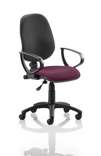 Picture of Office Chair Company Eclipse I Lever Task Operator Chair Black Back Bespoke Seat With Loop Arms In Purple