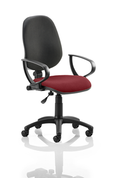 Picture of Office Chair Company Eclipse I Lever Task Operator Chair Black Back Bespoke Seat With Loop Arms In Chilli
