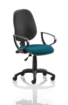 Picture of Office Chair Company Eclipse I Lever Task Operator Chair Black Back Bespoke Seat With Loop Arms In Kingfisher