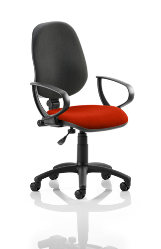 Picture of Office Chair Company Eclipse I Lever Task Operator Chair Black Back Bespoke Seat With Loop Arms In Pimento